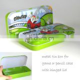 Professional metal tin box factory's cheap metal pencil case for kids with or without hinge