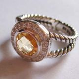 925 Silver Jewelry 8mm Citrine Petite Albion Ring(R-023)