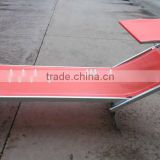 Red Aluminium folding bed with sunshade, sun chaise loungers HQ-8007F                                                                         Quality Choice