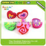 Kids Extruded Office love heart shaped flat erasers