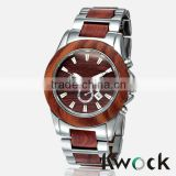 Kwock Top selling fashion alloy metal wood watches men China manufacturer