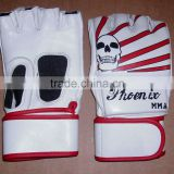 white & red genuine cowhide leather sports mma pro fight training gloves available in various colors and sizes: S, M, L, XL