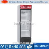 Compressor cooling single glass door upright refrigerated showcase