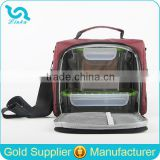 Durable Burgundy Nylon Lunch Cooler Bag Insulated Food Lunch Cooler Bag For Office With Adjustable Shoulder Strap