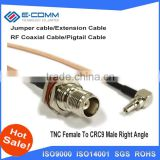 Hot sale RF TNC To CRC9 Pigtail Cable TNC Female Bulkhead O-ring Connector To CRC9 Male Right Angle Connector RG316 Cable