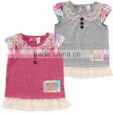 Japanese wholesale high quality cute fashion frilled fake layered tunic design baby clothes for girl patchwork print
