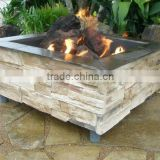 Square Fibreglass Stacked Stone Finish Outdoor Gas Fire Pit Burner