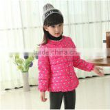 2015 New girl dot winter clothes snow down jacket kids velvet warm child clothes wholesale winter coat children (ulik-J024)