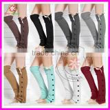 Crochet Lace Trim Button Down Braid Leg Knit Warmers Boot Socks Knee High for Women Lady