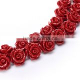 Nice Red #62 Color Synthetic Turquoise Carved Rose Howlite Coral Flower Carving Loose Beads 20 pcs per Bag For Jewelry Making