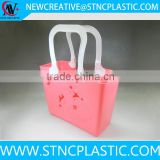 PE Plastic soft Hollow Pattern Plastic Household Storage Basket Mixed Colors With handle