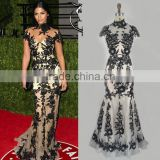 Sexy Zuhair Murad Black Embroidery Red Carpet Dress Floor Length Gown Dress For Party Vestidos Femininos TPD316