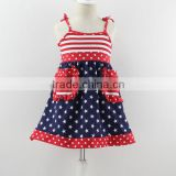 Fashion kids Woven cotton dress,Independence Day design baby&kids&girls dress,Children's clothes with American flag design