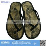 latest fashion summer lady straw flip flops