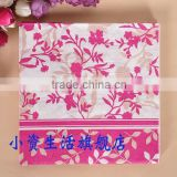 Pink Flower Style and Leaves Lace Restaurant, Wedding, Party Festival etc Decoration 100%Food-grade Water-based Ink Paper Napkin