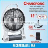 12 inch 3 blades rechargeable table fan/desk fan with light CR-8312