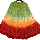 Cotton Long Skirt With Sequins Handwork / Bandhej lehenga Skirt