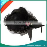 Black Bow Feather Lace Hair Clip Mini Top Hat