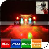 Coolest bike accessories 9 led 4modes waterproof colorful light beam led bicycle warning light