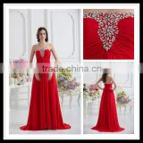Real Sample Strapless Beaded Empire A-line Floor Length Pleated Red Satin Prom Dresses xyy07-042
