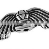 Tibetan Style Beads, Lead Free and Nickel Free, Wing, Antique Silver, 31x10x3mm, hole: 1mm(TIBEB-A11258-AS-FF)