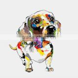 100% Hand Painted Abstract Mural Animals Oil Painting Wall Knife Lovely Dog Painting For Living Room