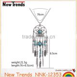 Indian tribal round alloy chain feather necklace with turquoise beads