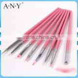 ANY Nail Beauty Design Wood Handle Pink 8 Nail Brush Set