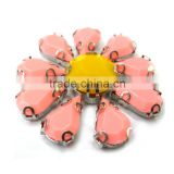floral acrylic claw stone garment apparal accessroies jeweled chunky beads round embellished woman clothing