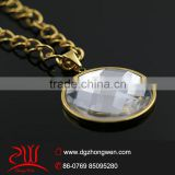 18k gold filled jewelry design white glass stone pendant necklace