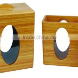 Cuboid Shape Airtight Bamboo Wood Canister with Movable Bottle Lid on Box Top and Acrylic Sheet on Jar Side of Food Storage Bin