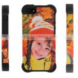 3d sublimation phone cover hard plastic add soft silicone phone case 2 in 1 for iphone 5/5s