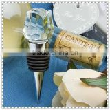 Romantic Clear Crystal Rose Wine Stopper For Wedding Favor