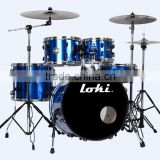 Loki poplar and basswood shell 5 piece blue pvc drum kit with hardware cymbals and throne