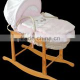 Eco-friendly handmade Baby Moses basket with rocking stand