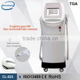 3 handles E light (IPL +RF)+ Bipolar RF+ Nd yag laser spot removal 8.4 inches real color touch screen