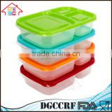 3 Compartment Containers Reusable Bento Lunch box & Divided Food Storage With Multi Colored Lids