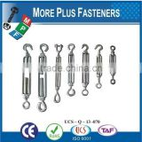 Made In Taiwan Galvanized eye and Eye or Hook and Eye Turnbuckles Barrel Strainers or Tensioners DIN 1480