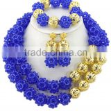 Double Rows Gold-plated Hollow Ball Crystal Beads African Jewelry Set