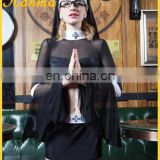 Halloween 8 piece suit black cosplay sexy nun costume