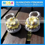 2014 Newborn Girl Sandals, Baby Girl Summer Slippers Sandals ,Grey Yellow Flowers Shoes Knitted