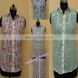 5pcs wholesale lot Women Summer Top Sleeveless Shirt Blouse Hand Block Print