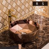 2018 Most popular ceramic round shape golden luxury color wash hand basin sink from china