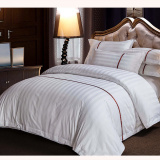 5 Star hotel Red satin stripe hotel bedding set