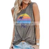 In Stock Woman Tops Summer Sleeveless T Shirts BEER ME Rainbow Coconut Tree Print Tank Top