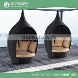 Creative Birdhouse shaped poly rattan outdoor furniture lounge bed outdoor nestrest daybed with canopy