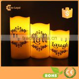 """LOVE LIVE LAUGH"" Printed Votive Candle Set Nature Flameless Candle LED With Wavy Edge"