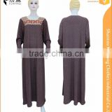 Flannel 2016 Latest design muslim long sleeve fashion islamic abaya with devorate on chest