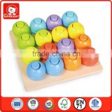 Top Bright Megge rainbow whirls pegging game children wooden toy shape matching board confirm to EN 71 and ASTM