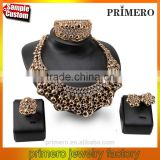 Inlaid Women Choker Crystal Rhinestones Design Bridal Jewelry Sets 4pcs/set Gold Necklace Accessories